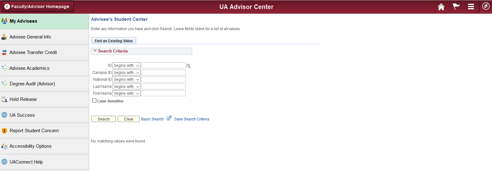 Advisor Student Center - Degree Audit Link